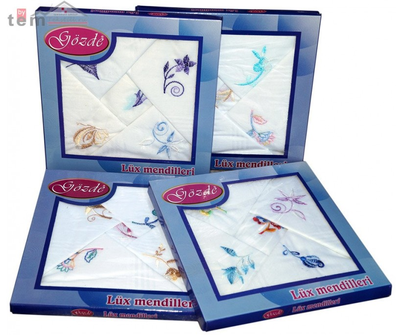 Платки носовые женские с вышивками 8 шт./уп. 30x30 см. Lux - Gozde