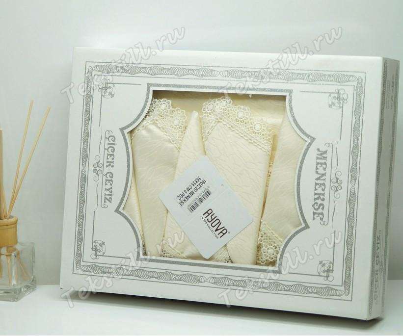 Скатерть с Гипюром 160x220 см. + 8 Салфеток Menekse - Cicek Ceyiz