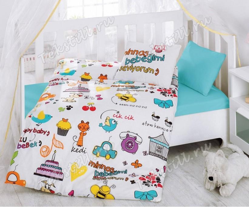 Детский Комплект Постельного белья Bebek Ranforce Mutlu Bebek - cotton box