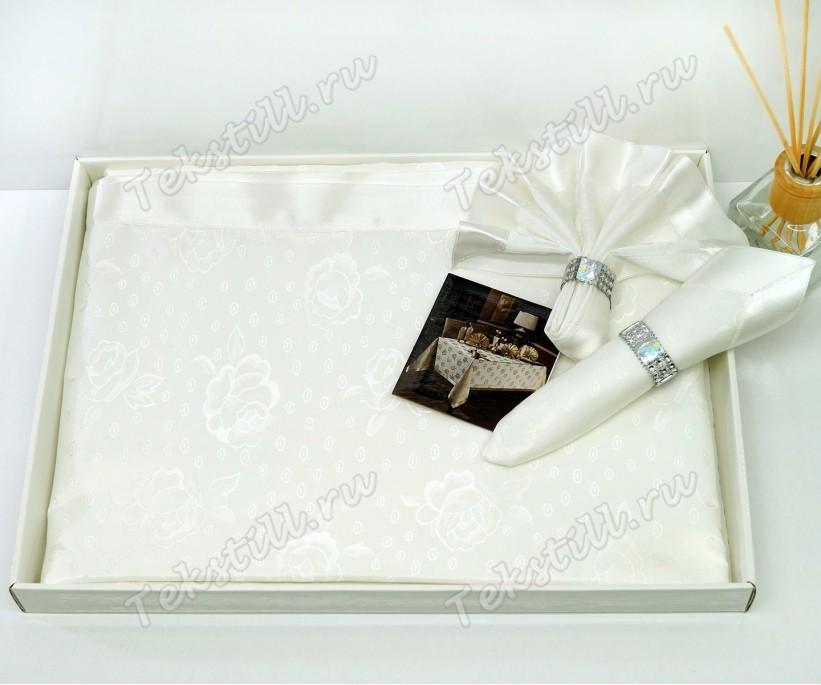Скатерть 160x220 см. с Набором Салфеток и Колец на 8 персон - Zelal