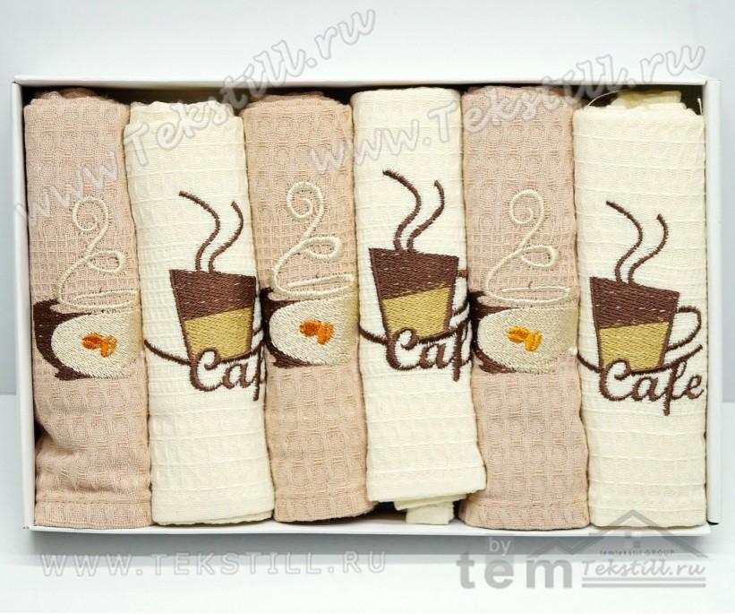 Кухонные Вафельные Полотенца Салфетки 45x70 см. 6 шт/уп. Cafe - Nilteks