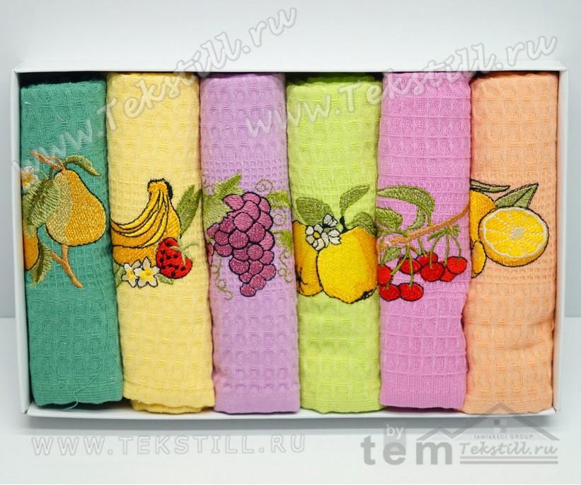 Кухонные Вафельные Полотенца Салфетки 45x70 см. 6 шт/уп. Fruta - Nilteks