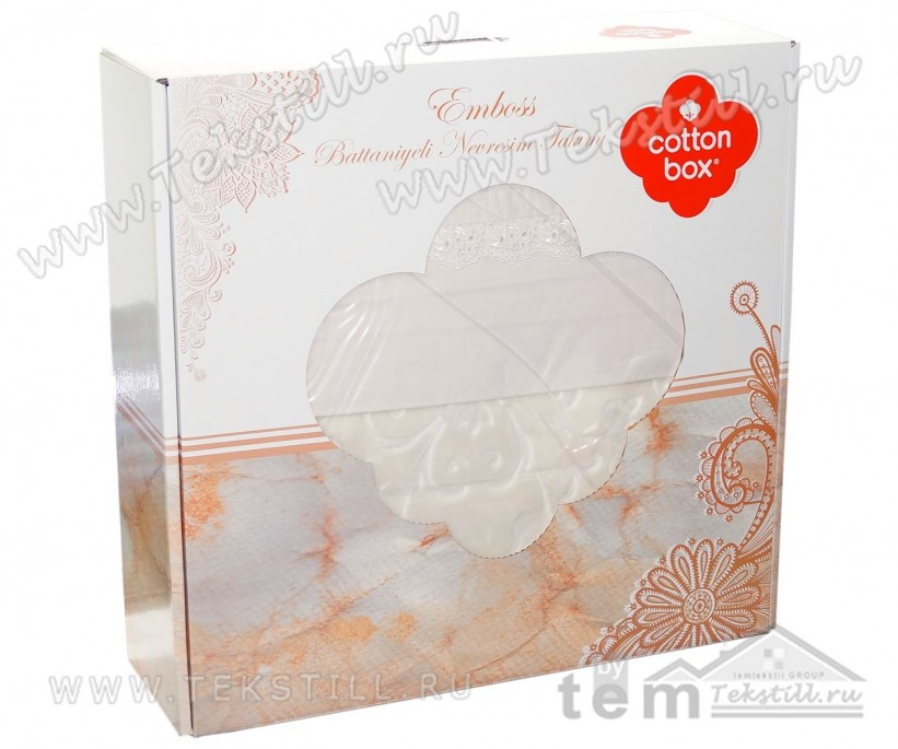 Постельное Белье Евро 2 сп. с Пледом 220x240 см. Embos Battaniyeli - cotton box