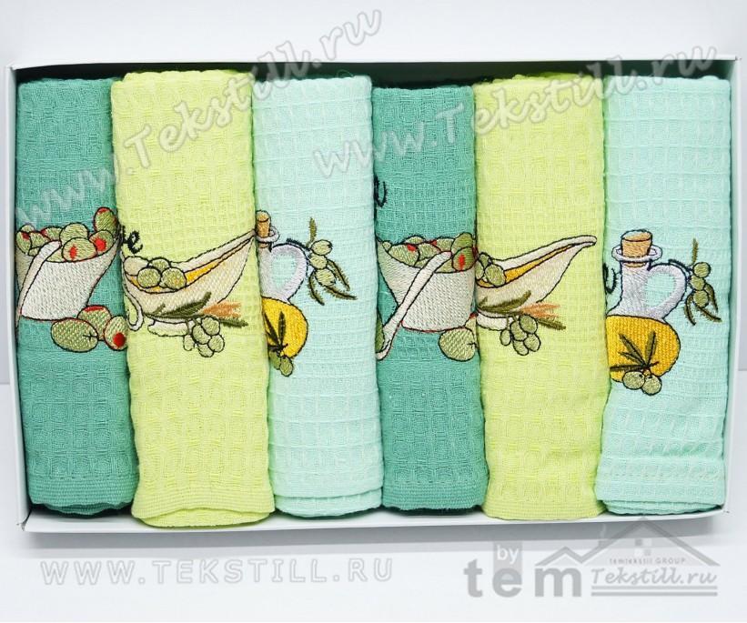 Кухонные Вафельные Полотенца Салфетки 45x65 см. 6 шт/уп. Fruta - Nilteks