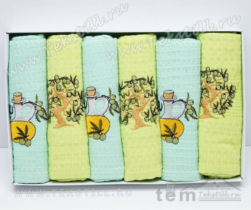 Кухонные Вафельные Полотенца Салфетки 45x65 см. 6 шт/уп. OLIVE - Nilteks