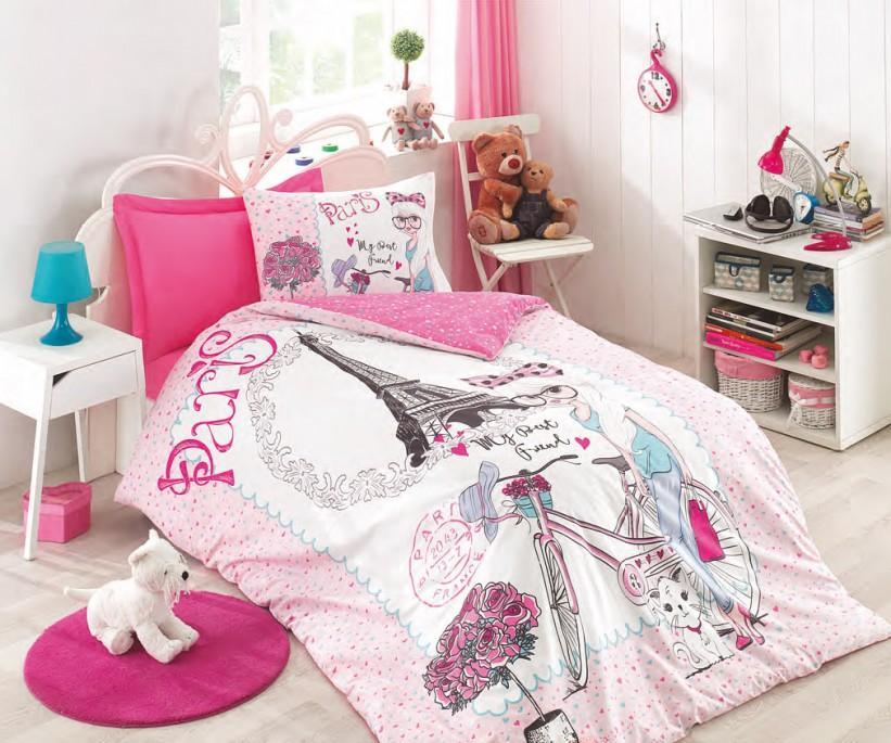 Подростковое Постельное Белье Ранфорс Genc Pink Rose - cotton box