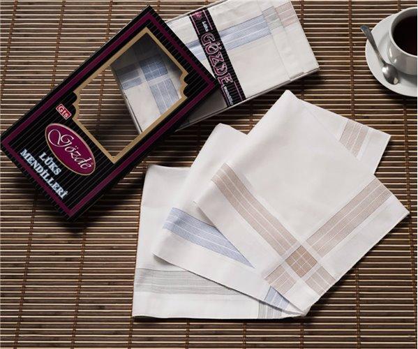Мужские носовые платки 12 шт./уп. 42x42 см. LUKS Siyah Kutulu - Gozde