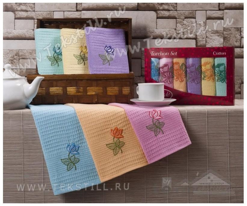 Полотенца Вафельные Сатин с Вышивкой 45x65 см. 6 шт./уп. Renkli - GOZDE