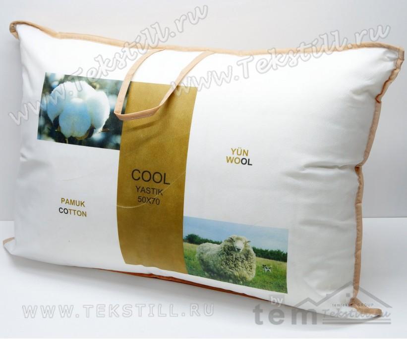 Подушка из Овечьей Шерсти и Хлопка со Съемным Чехлом 50x70 см. WOOL COTTON - ByTem