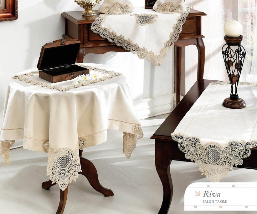 Набор Скатертей (5 предметов) с Декоративной Вышивкой Riva - Royal Nazik