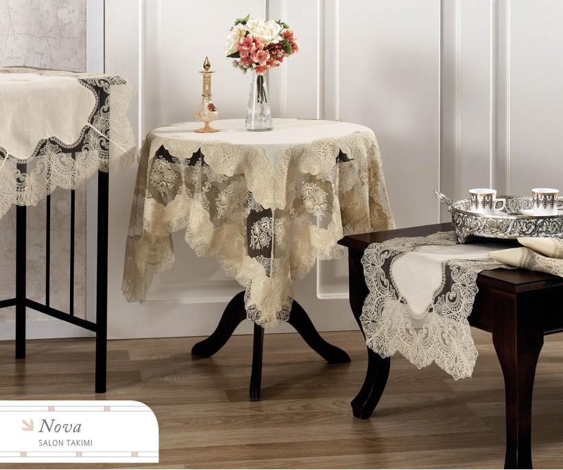 Набор Скатертей (5 предметов) с Декоративной Вышивкой  - Royal Nazik