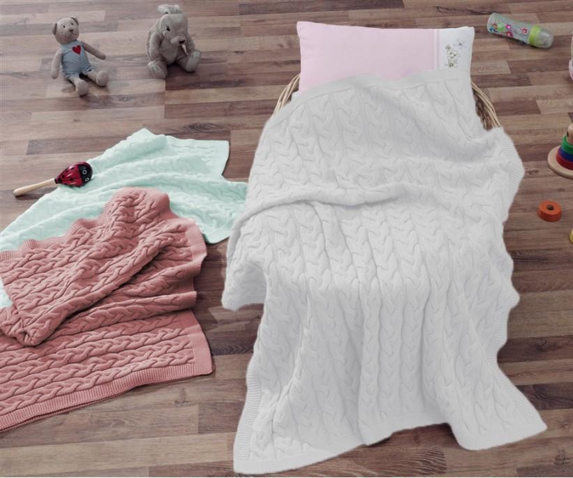 Плед для Новорожденных 80x90 см Вязанный - EcoCotton