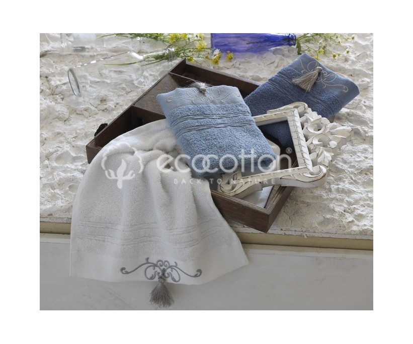 Махровые Полотенца с Вышивкой 30x50 см 3 шт/уп - EcoCotton