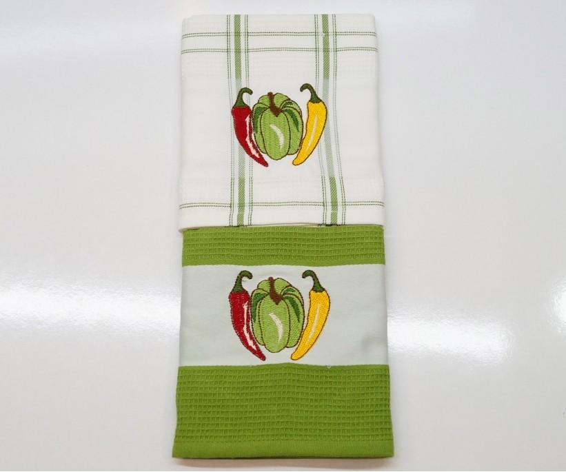 Кухонные Вафельные Полотенца Салфетки с Вышивкой 50x70 см 2 шт/уп - Mercan