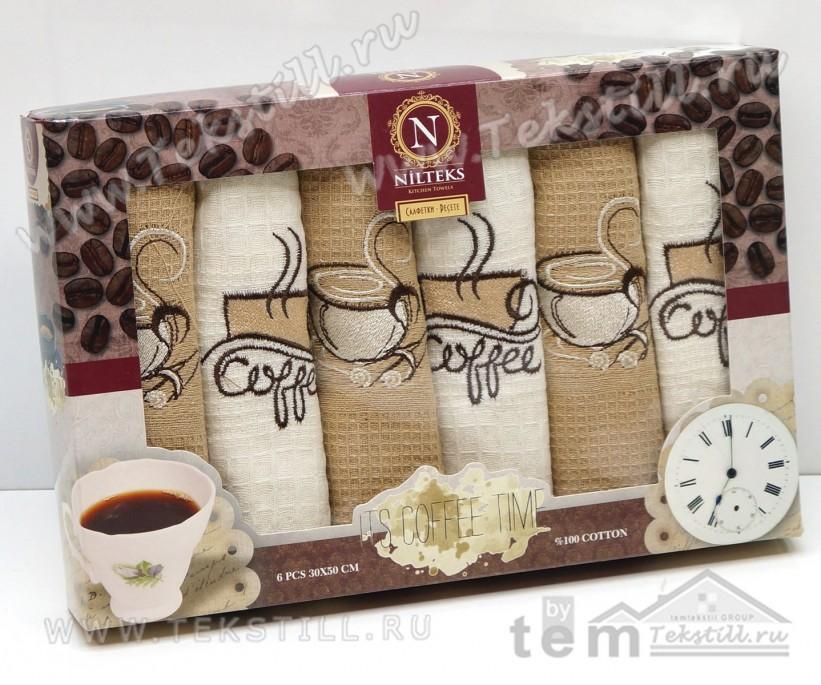 Набор Вафельных Полотенец 30x50 см. 6 шт/уп. Its Coffee Time - Nilteks
