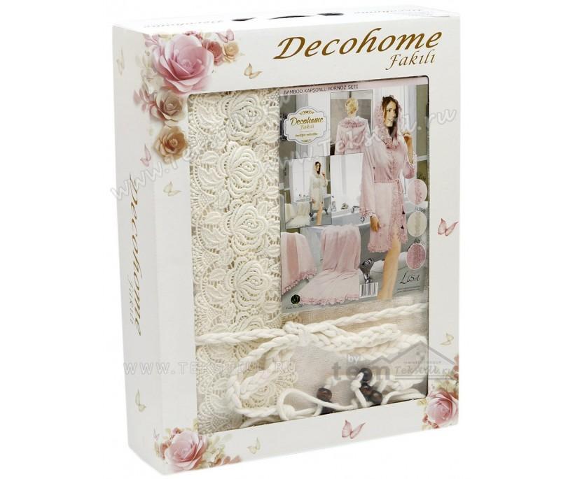 Махровый Подарочный Набор Халат с Полотенцами Cotton Fakili Decohome