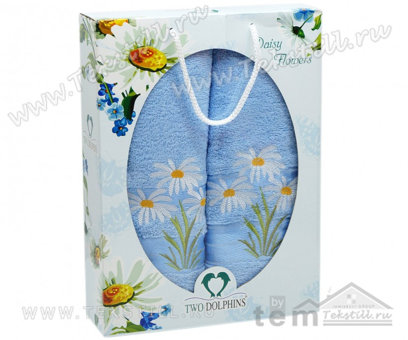 70x140 см. + 50x90 см. Махровый Набор Полотенец 2 шт/уп. Daisy Flowers TWO DOLPHINS