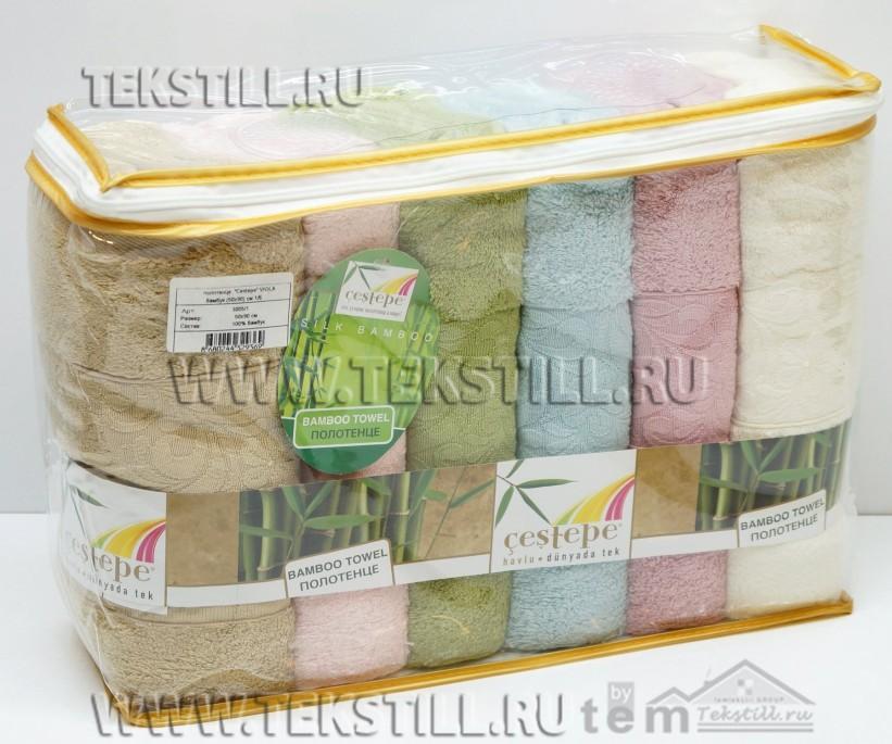 50x90 см. 6 шт/уп. Бамбуковые Лицевые Полотенца Bamboo Viola - Cestepe