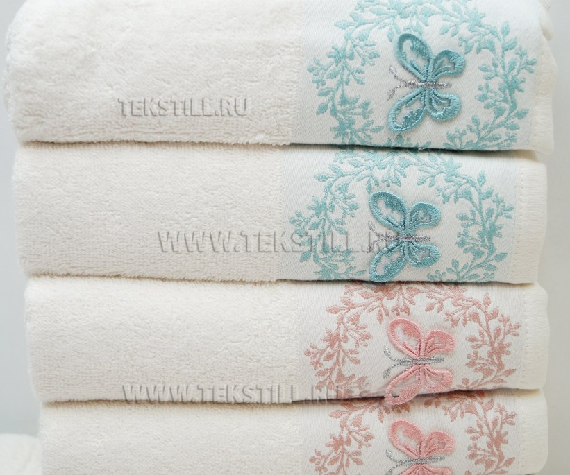 Махровые Банные Полотенца с Вышивкой 70x140 см. 6 шт/уп. MERLIN - Soft Kiss