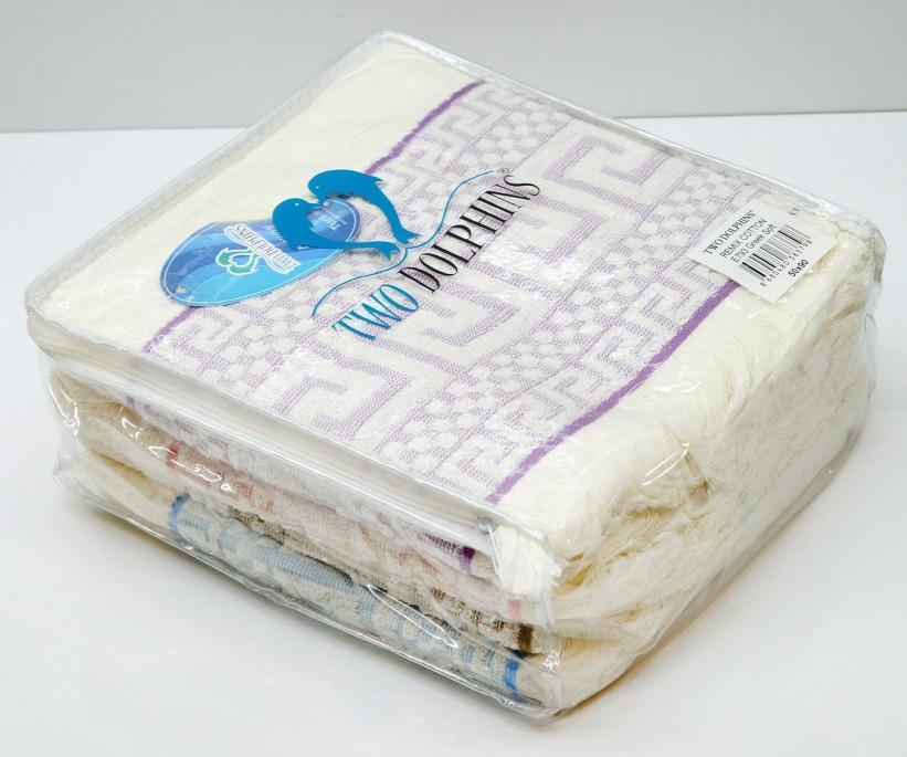 Махровые Лицевые Полотенца с Бахромой 50x90 см. 4 шт/уп. E793 GREEK SOFT TWO DOLPHINS