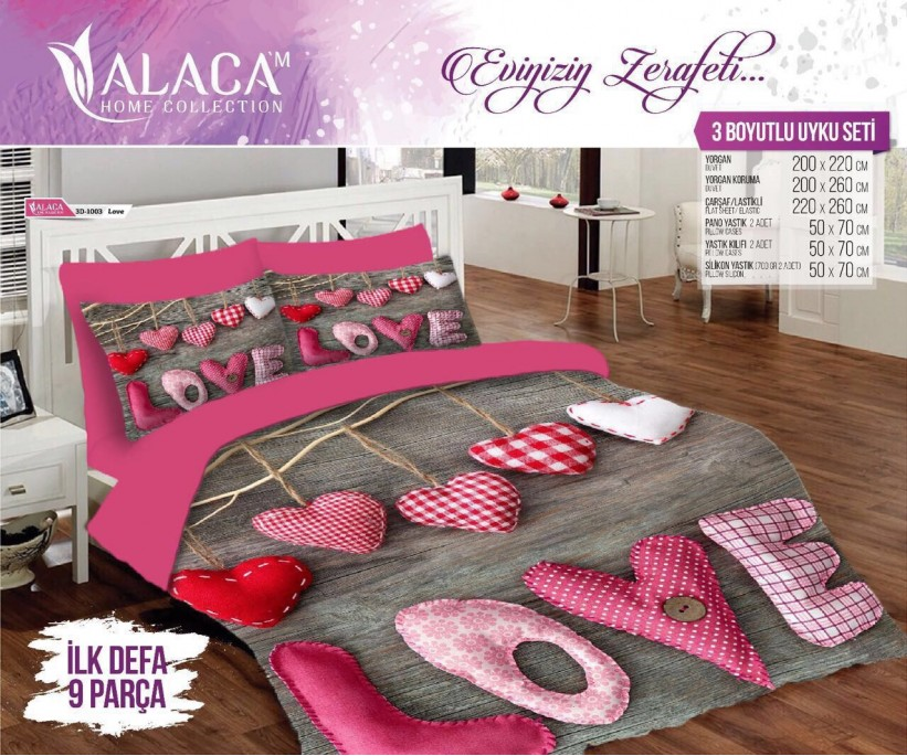 3Д Комплект Постельного Белья с Одеялом и Подушками 9 предмет ЕВРО 2 сп. 3D ALACA