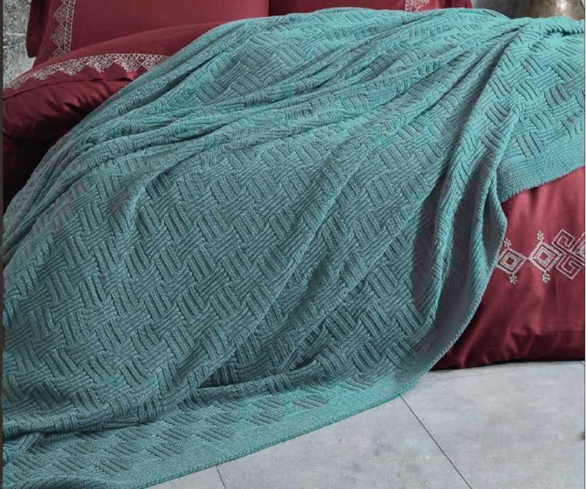 Organik Pamuk Tek Kişilik Örgü Battaniye Sierra Mint ecocotton