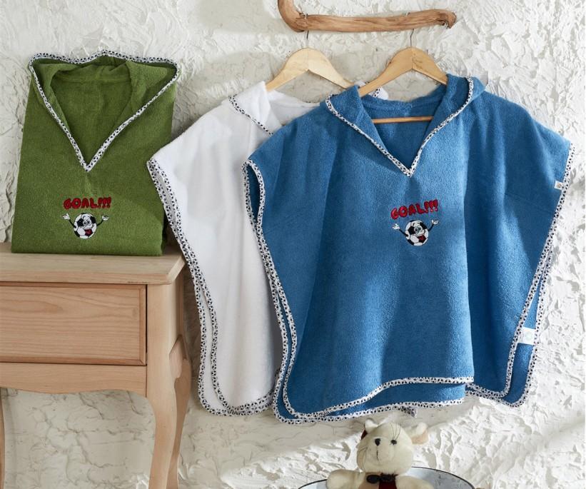 Детское Полотенце-Пончо на 2-5 года Organik Bebek Panço Funny Football Yeşil ecocotton