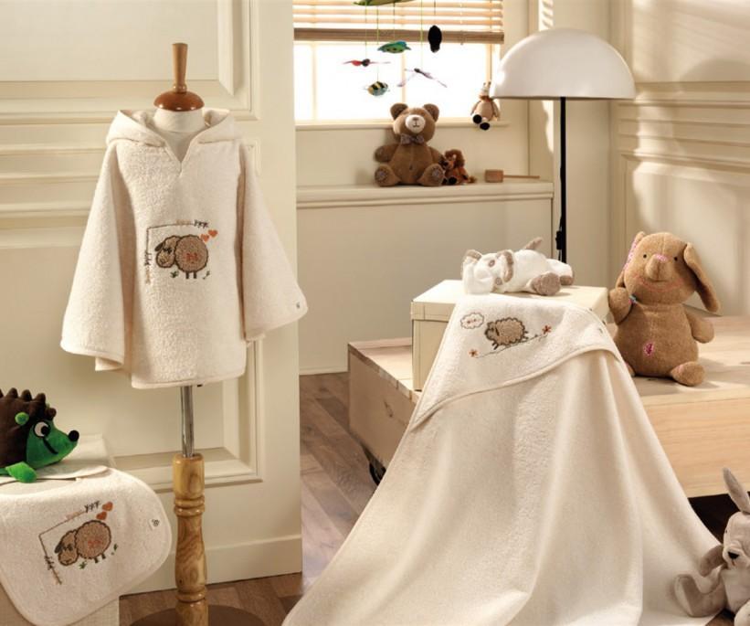 Комплект Пончо 4 Предмет 0-1 год Bebek Panço Seti Little Sheep ecocotton