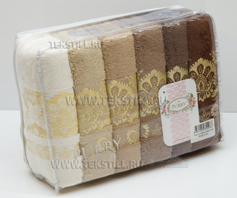 Махровые Банные Полотенца 70x140 см. 6 шт/уп. Cotton PURRY