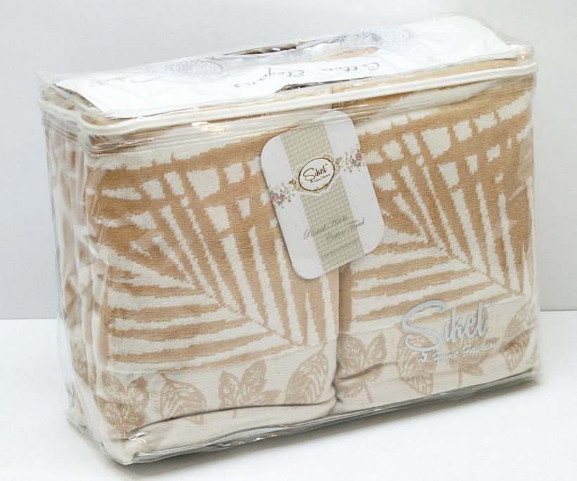 Велюровые Банные Полотенца 70x140 см. 6 шт/уп. Бежевый Wonderful Palmie - Sikel