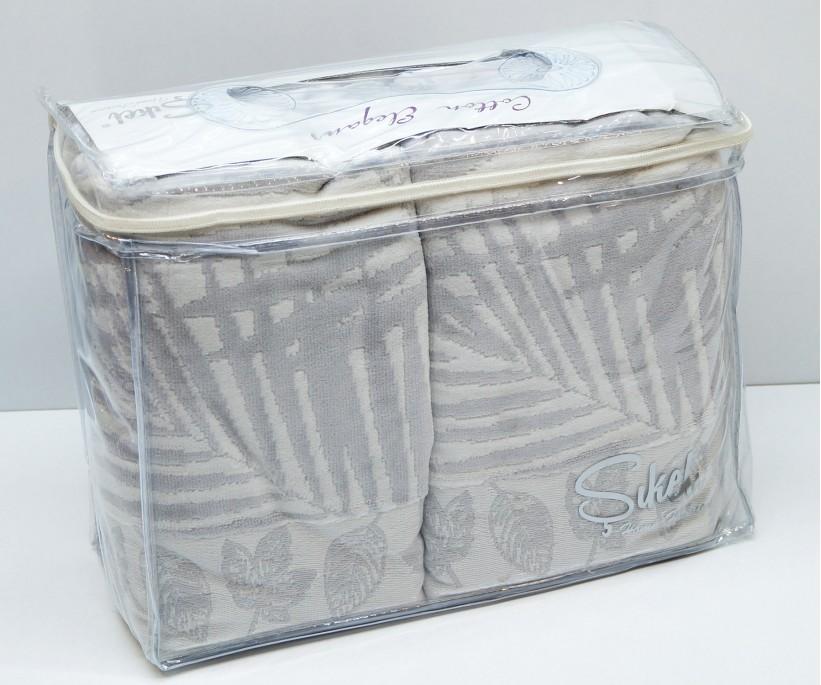 Велюровые Банные Полотенца 70x140 см. 6 шт/уп. Серый Wonderful Palmie - Sikel