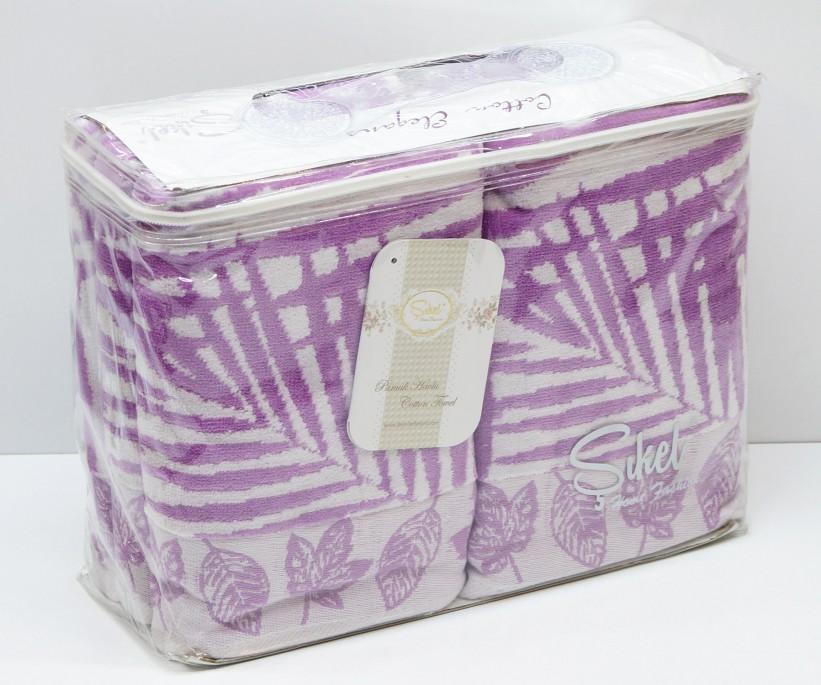 Велюровые Банные Полотенца 70x140 см. 6 шт/уп. Лиловый Wonderful Palmie - Sikel