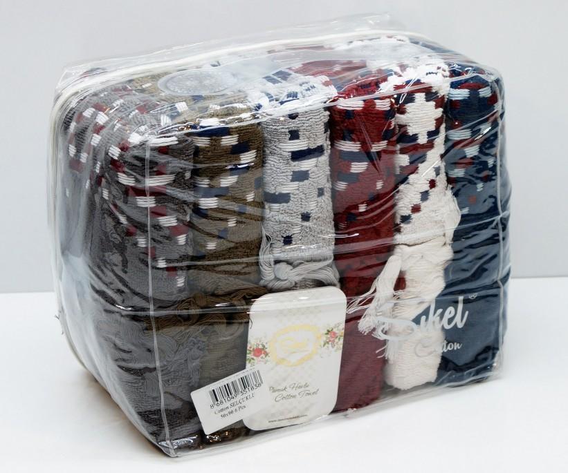 Махровые Лицевые Полотенца с Бахромой 50x90 см. 6 шт/уп. Cotton Selcuklu - Sikel