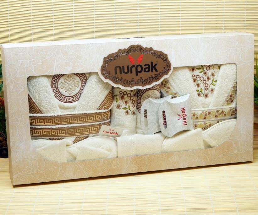 Семейный Подарочный Махровый Набор Халатов с Полотенцами Meltem Nurpak