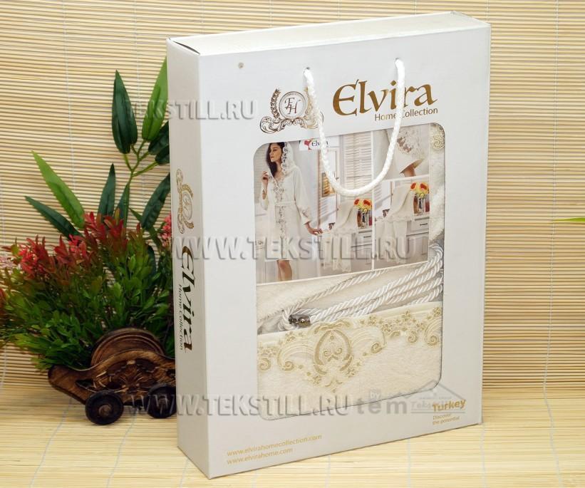 Подарочный Махровый Набор с Кружевами Халат c Полотенцами Elvira Home