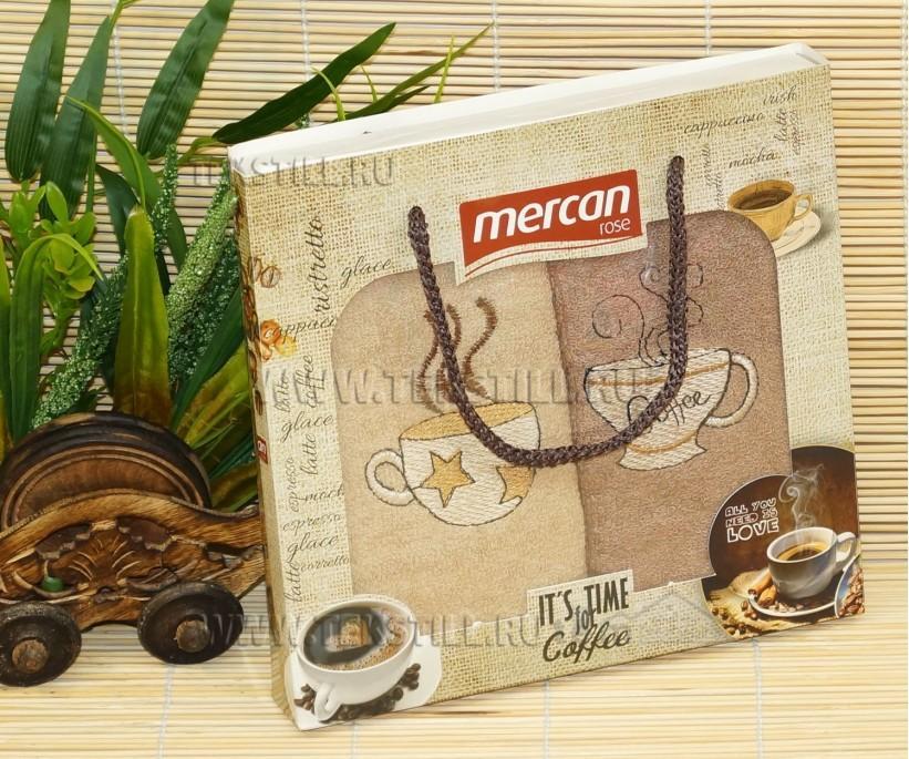 Махровые Полотенца с Вышивкой 30x50 см. 2 шт./уп. Coffee Mercan