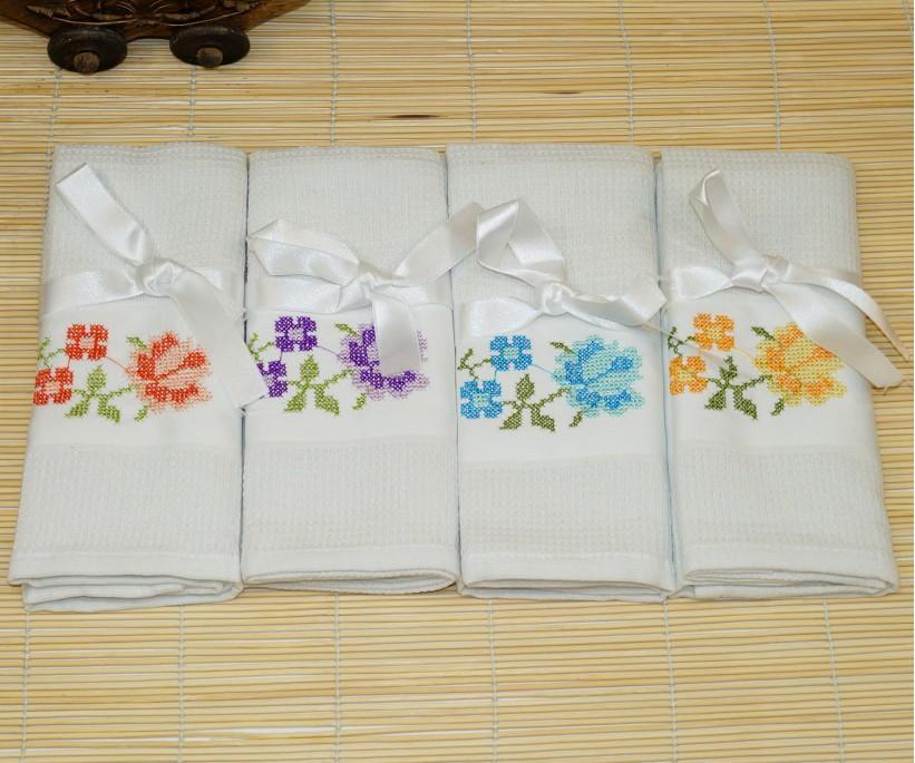 Кухонные Вафельные Полотенца Салфетки 45x70 см 12 шт/уп (Рисунки Цвета Ассорти) Mercan