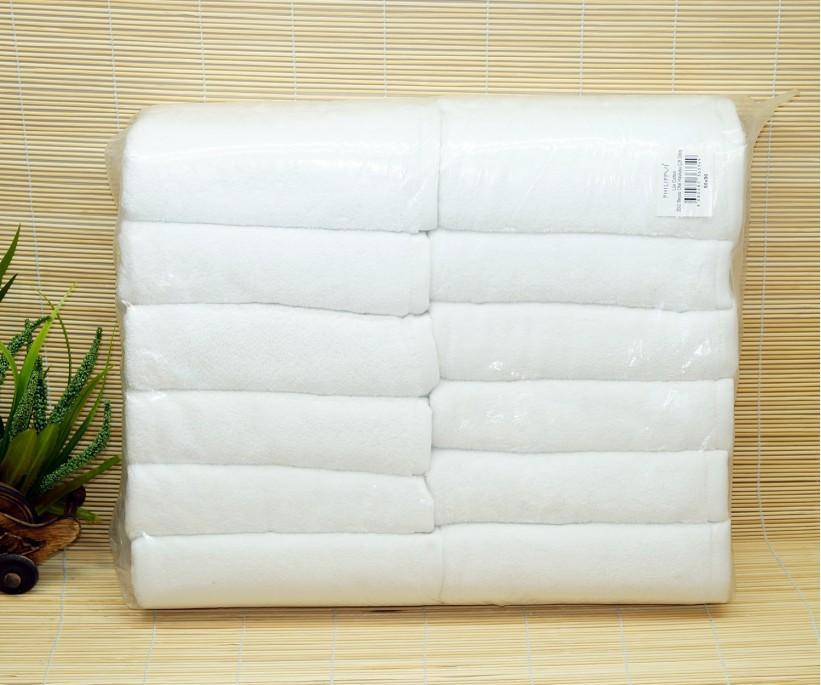 LUX 20/2 Махровые Белые Лицевые Полотенца 50x90 см. 12 шт/уп HOTEL PHILLIPUS