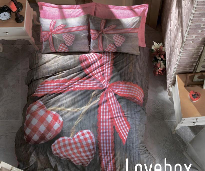 Комплект Постельного Белья Евро 2 сп. Ранфорс 3D Life Ranforce Lovebox Kirmizi - cotton box