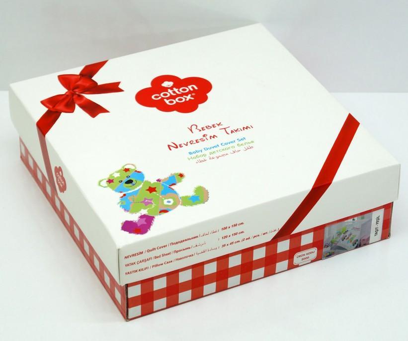 Постельное белье из ранфорса для новорожденных Bebek Ranforce Zurafa Yesil - cotton box