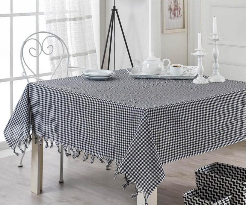 Masa Örtüsü Piti Kareli Zifir Siyah