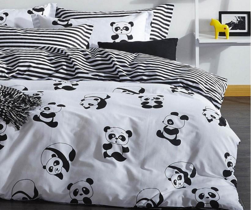 Kolay Ütülenir Nevresim Takımı Çift Kişilik B&W Panda