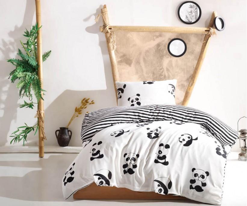 Kolay Ütülenir Nevresim Takımı Tek Kişilik B&W Panda
