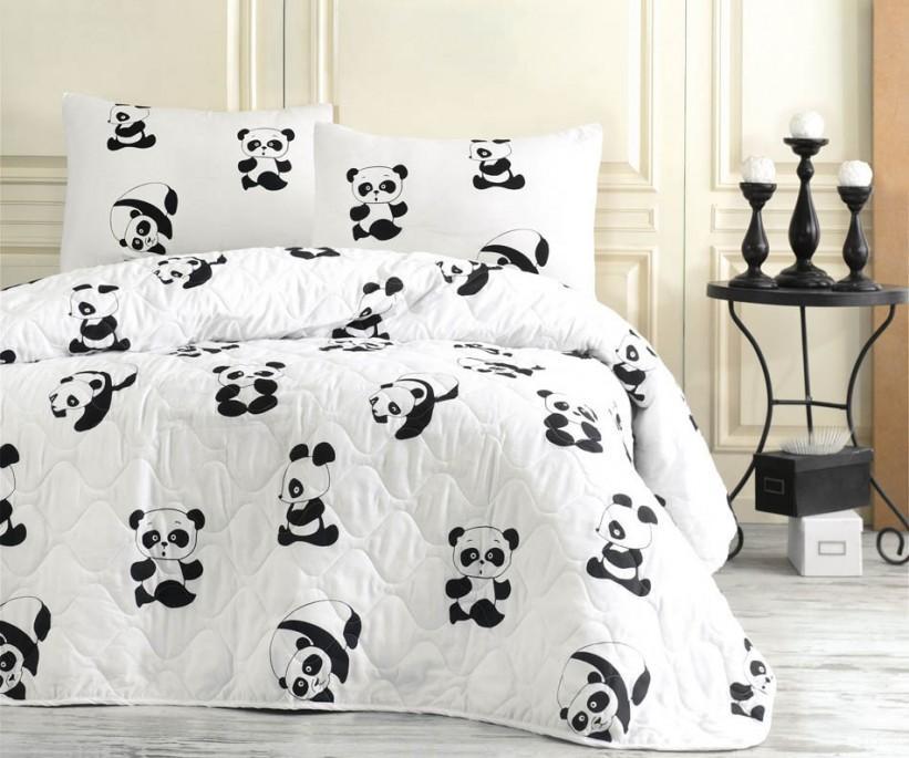 Kapitone Yatak Örtüsü Seti Çift Kişilik B&W Panda