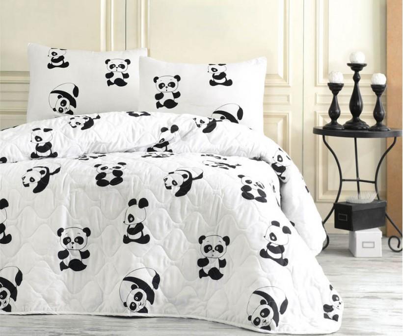 Kapitone Yatak Örtüsü Seti Tek Kişilik B&W Panda