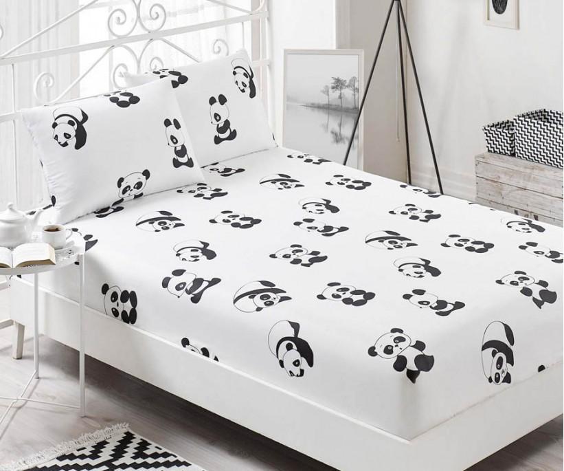 Pes Lastikli Çarşaf Seti Çift Kişilik B&W Panda