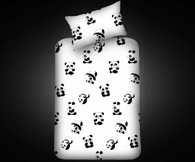 Pes Lastikli Çarşaf Seti Tek Kişilik B&W Panda