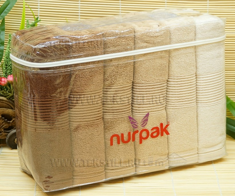 70x140 см. 6 шт/уп. Махровые Банные Полотенца Zumrut Kahve - Nurpak
