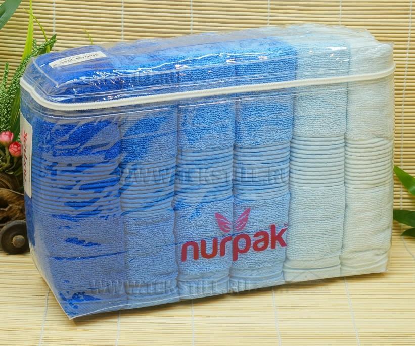 50x90 см. 6 шт/уп. Махровые Лицевые Полотенца Zumrut Mavi - Nurpak