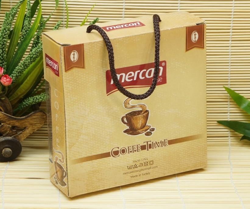 Махровые Полотенца с Вышивкой 30x50 см. 3 шт./уп. Coffee Time Mercan